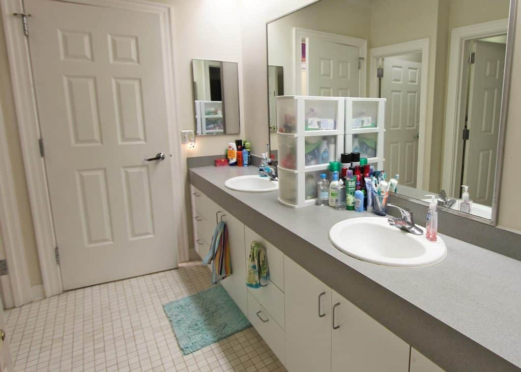 Bathroom in Bingham residence hall.