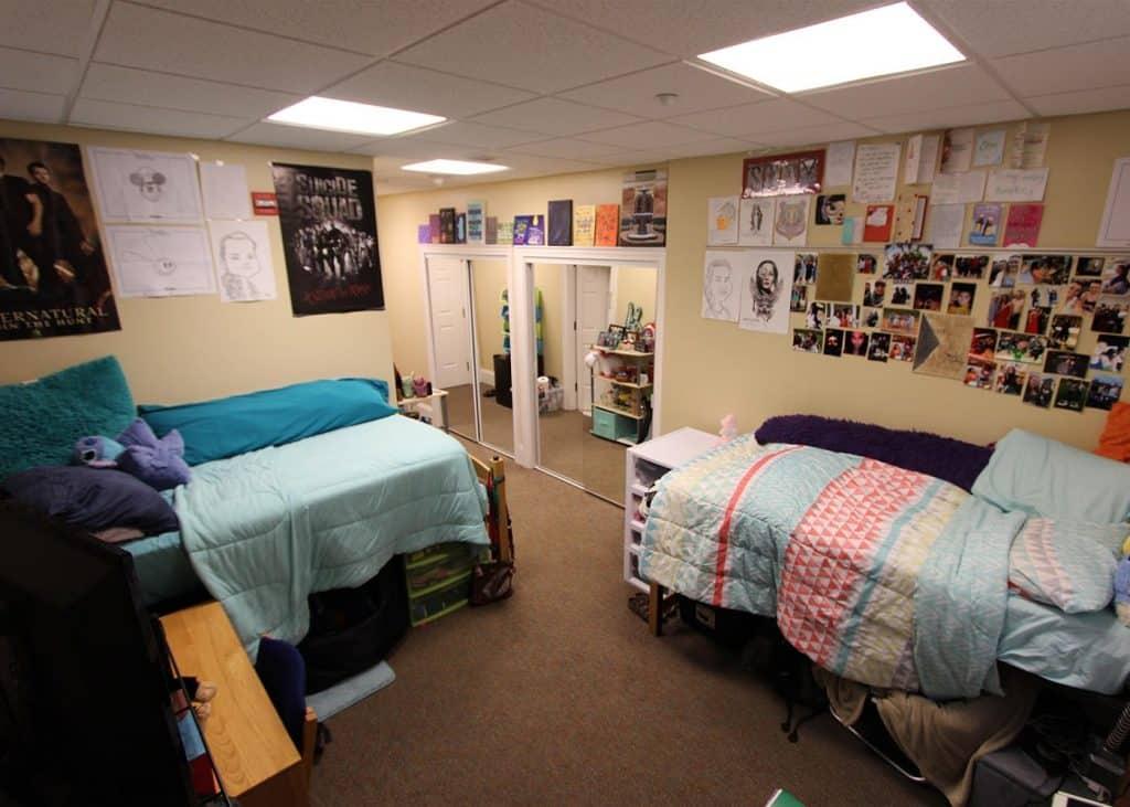 Bedroom in Bingham residence hall.