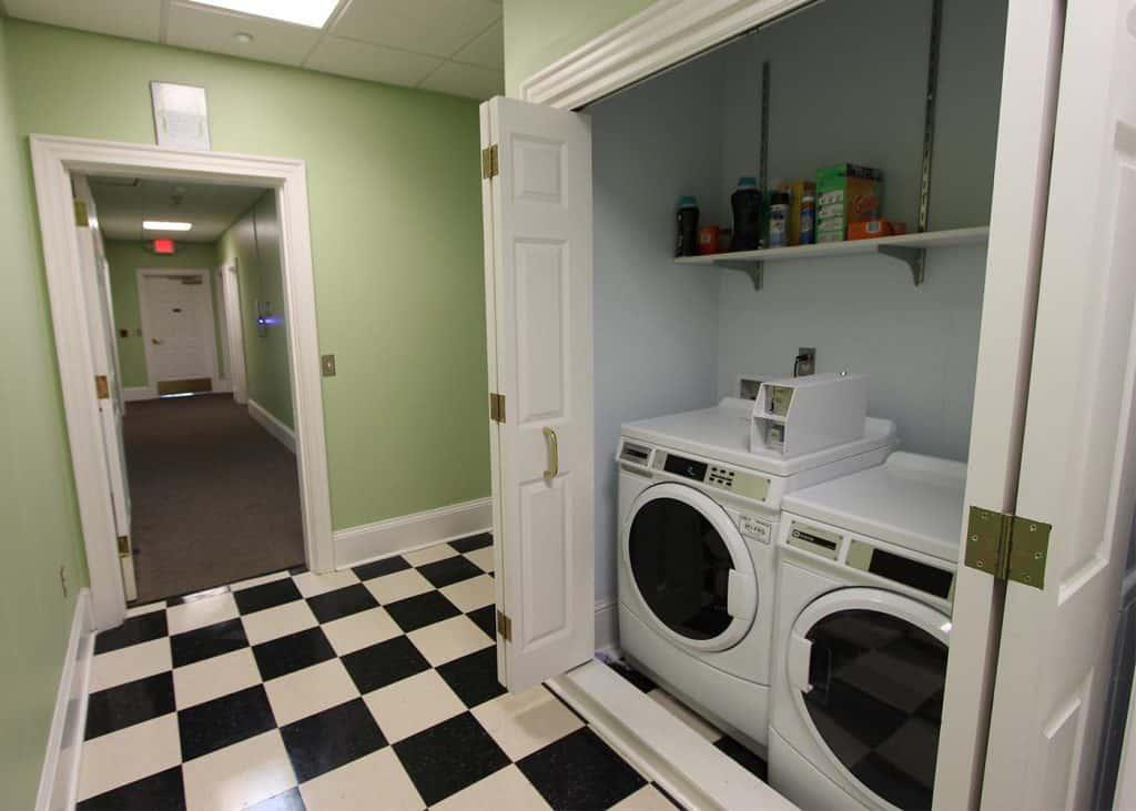 Laundry room in Bingham residence hall.