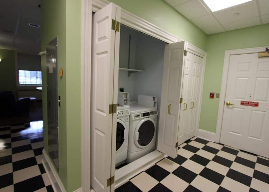 Laundry room in Bingham residence hall.