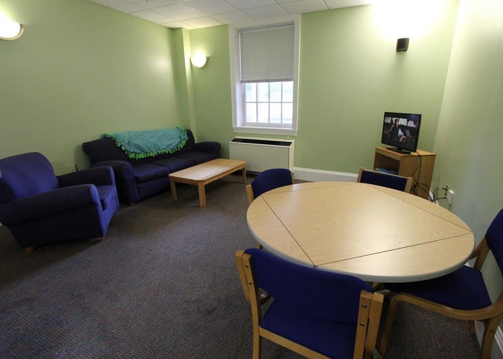 Living room in Bingham residence hall.