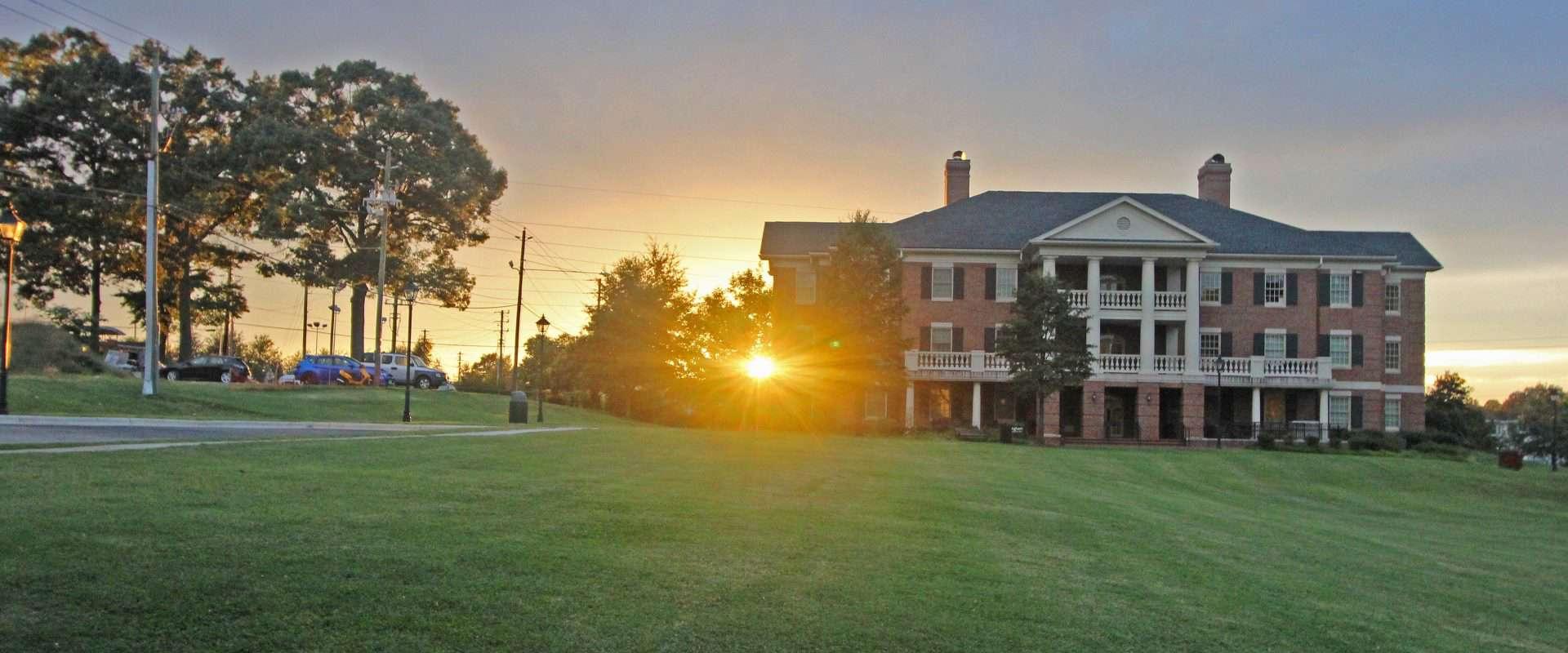 Bingham residence hall at sunset.