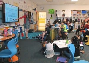 WPU Alumna Courtney Massengill teaches her classroom.