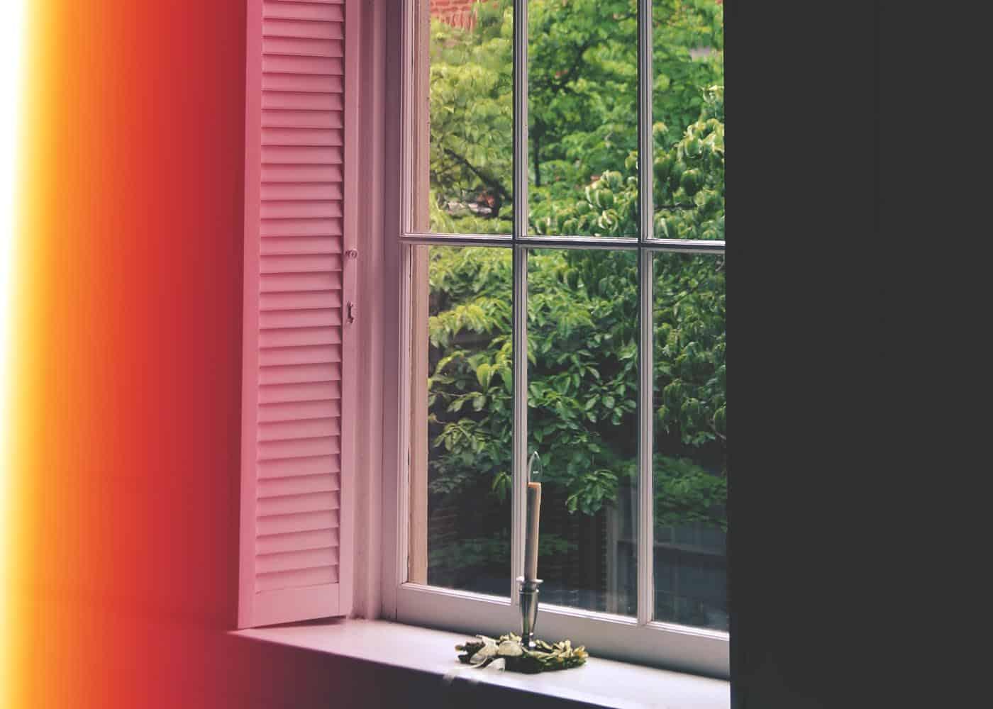 A window pane in Dinwiddie Chapel on the WPU campus.
