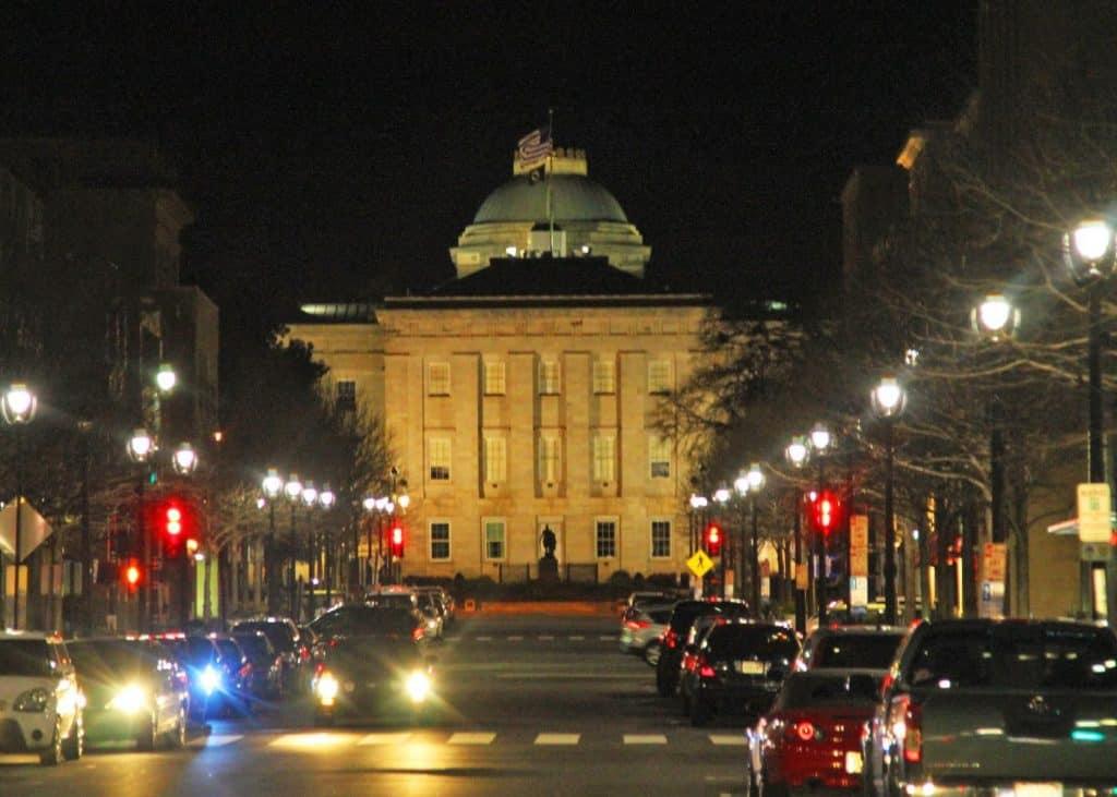Fayetteville Street at night.
