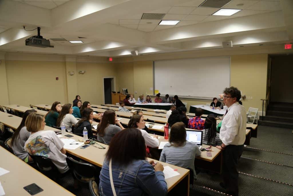 WPU students have a debate in class.