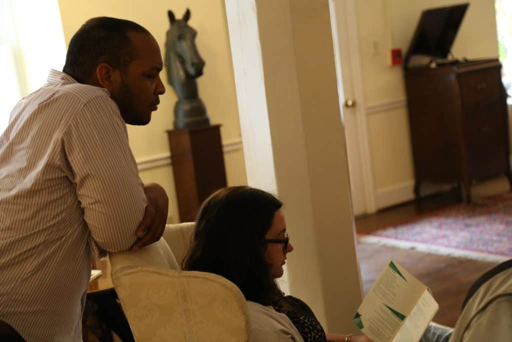 WPU students read in Main Parlor.