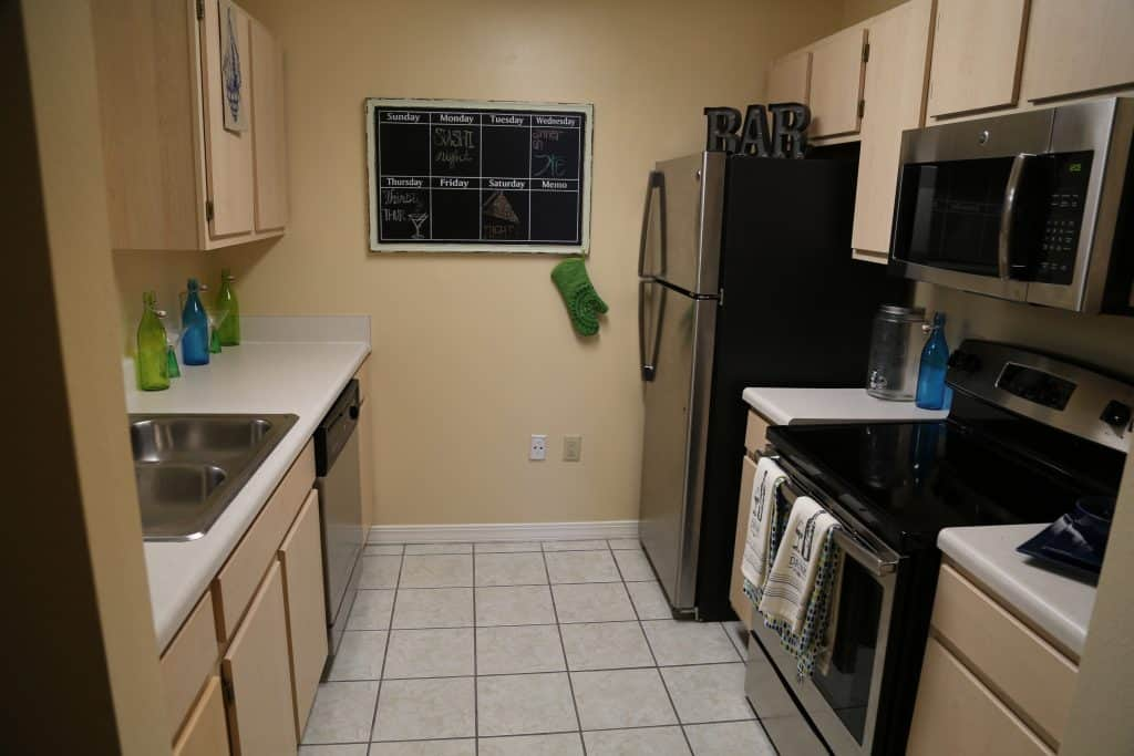 Kitchen in WPU off-campus housing, The Vie.