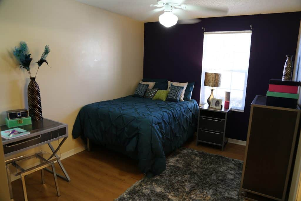 Bedroom in WPU off-campus housing, The Vie.