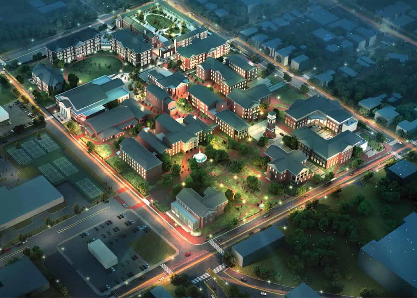 The William Peace University Campus Master plan was developed in partnership with ODELL and Stewart and is a bold vision for the future of the University campus at 15 E. Peace Street.