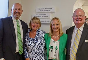 Pictured: President Ralph, Nonnie Dillehay, Vice President of University Advancement Jodi Stamey, Barry Dillehay.
