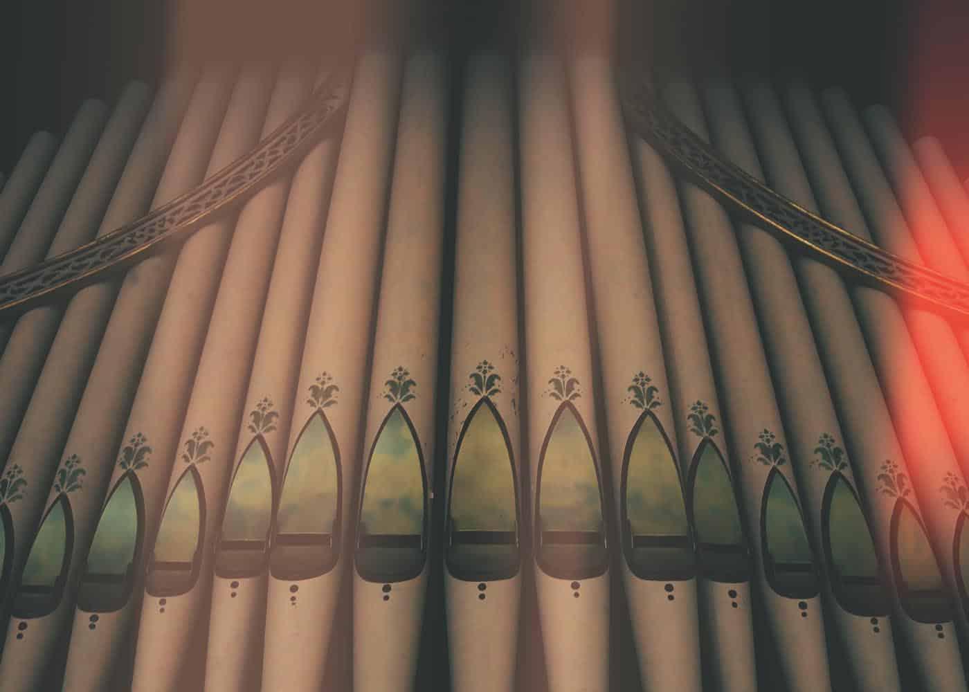 The organ in Dinwiddie Chapel on campus.