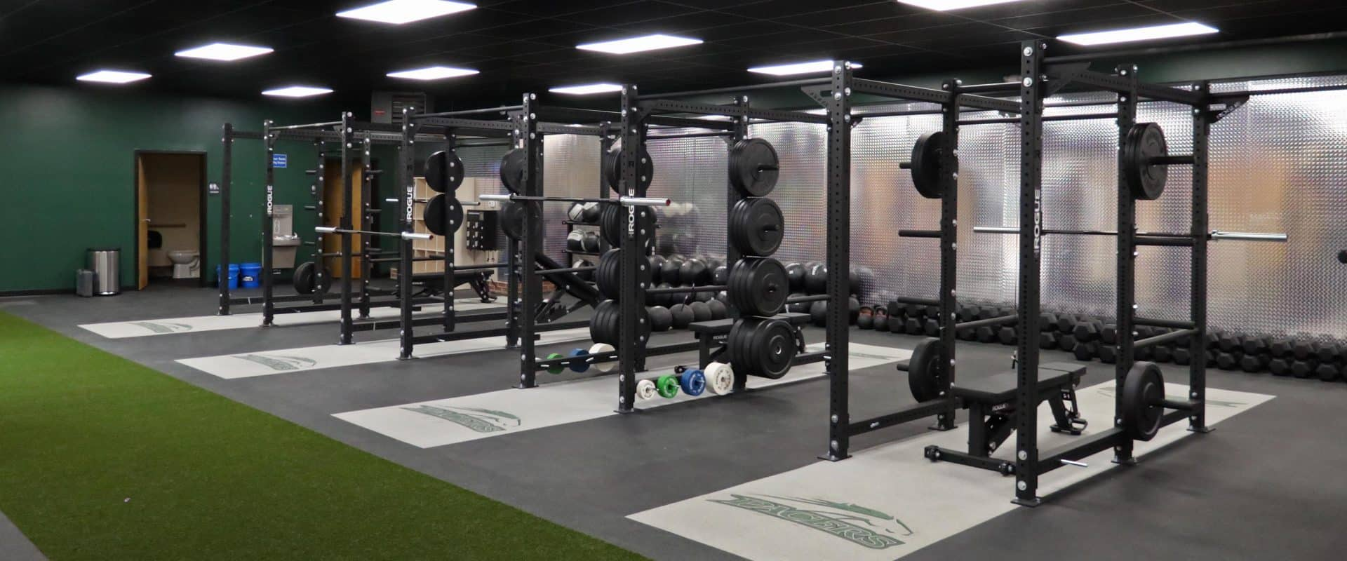 A promo photo for the campus's new workout center.