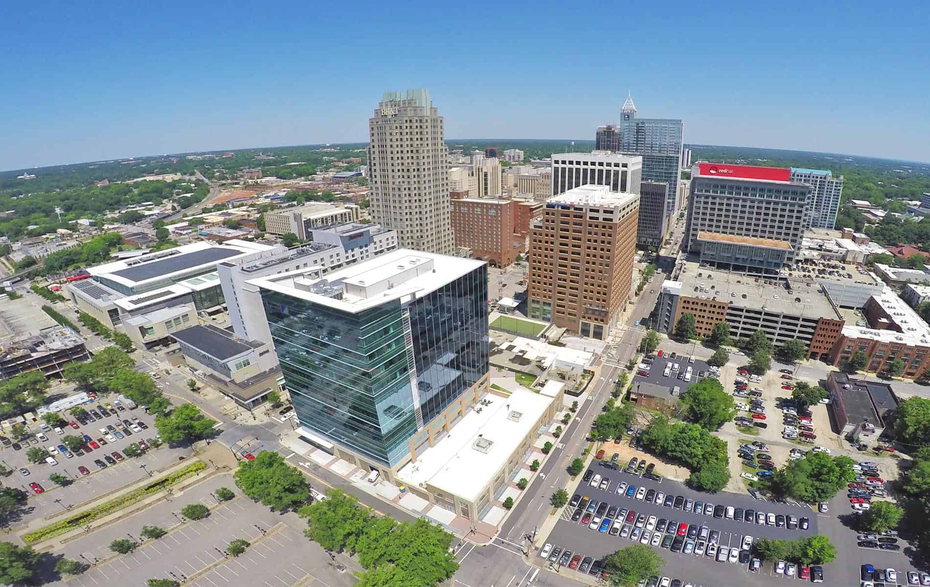 Aerial photo of Downtown Raleigh.