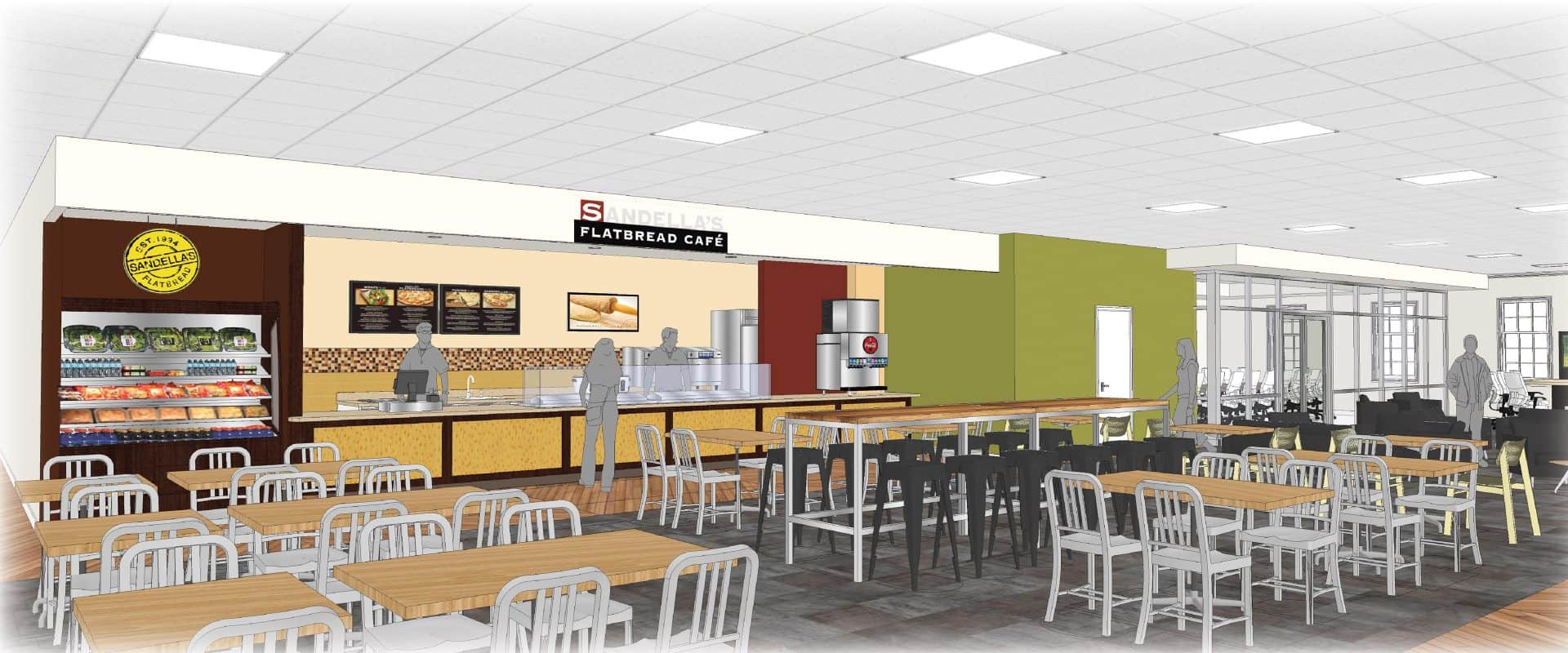 Rendering of the new Sandellas restaurant coming to the 2nd floor of the Belk building on WPU campus.
