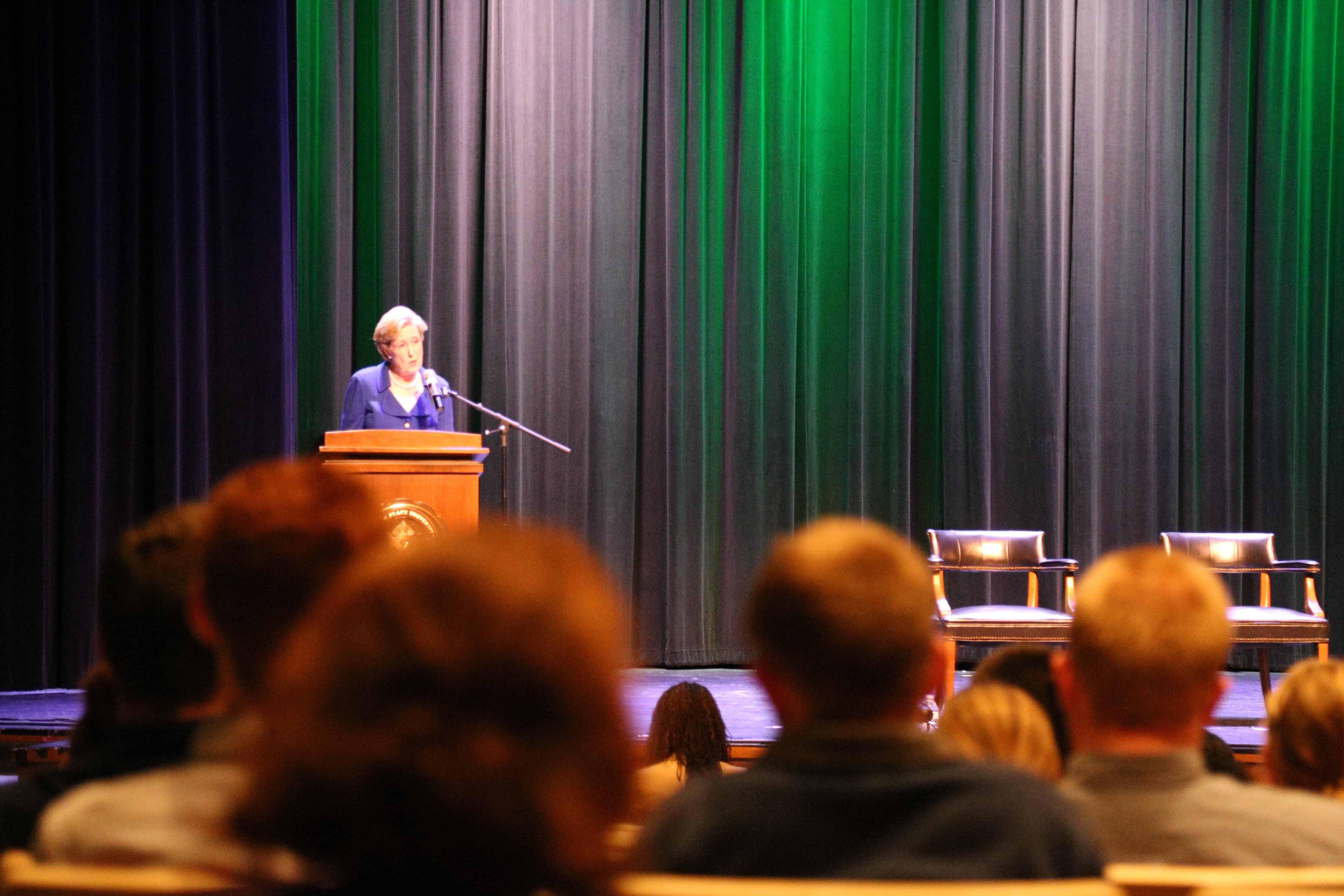 A speaker giving a speech at WPU.