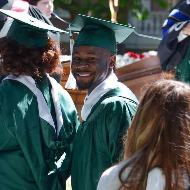 Terrace Myles '16, smiles at graduation.