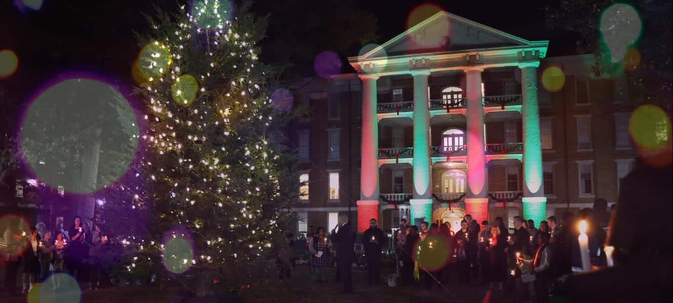 WPU Main Lawn decorated for the Holidays.