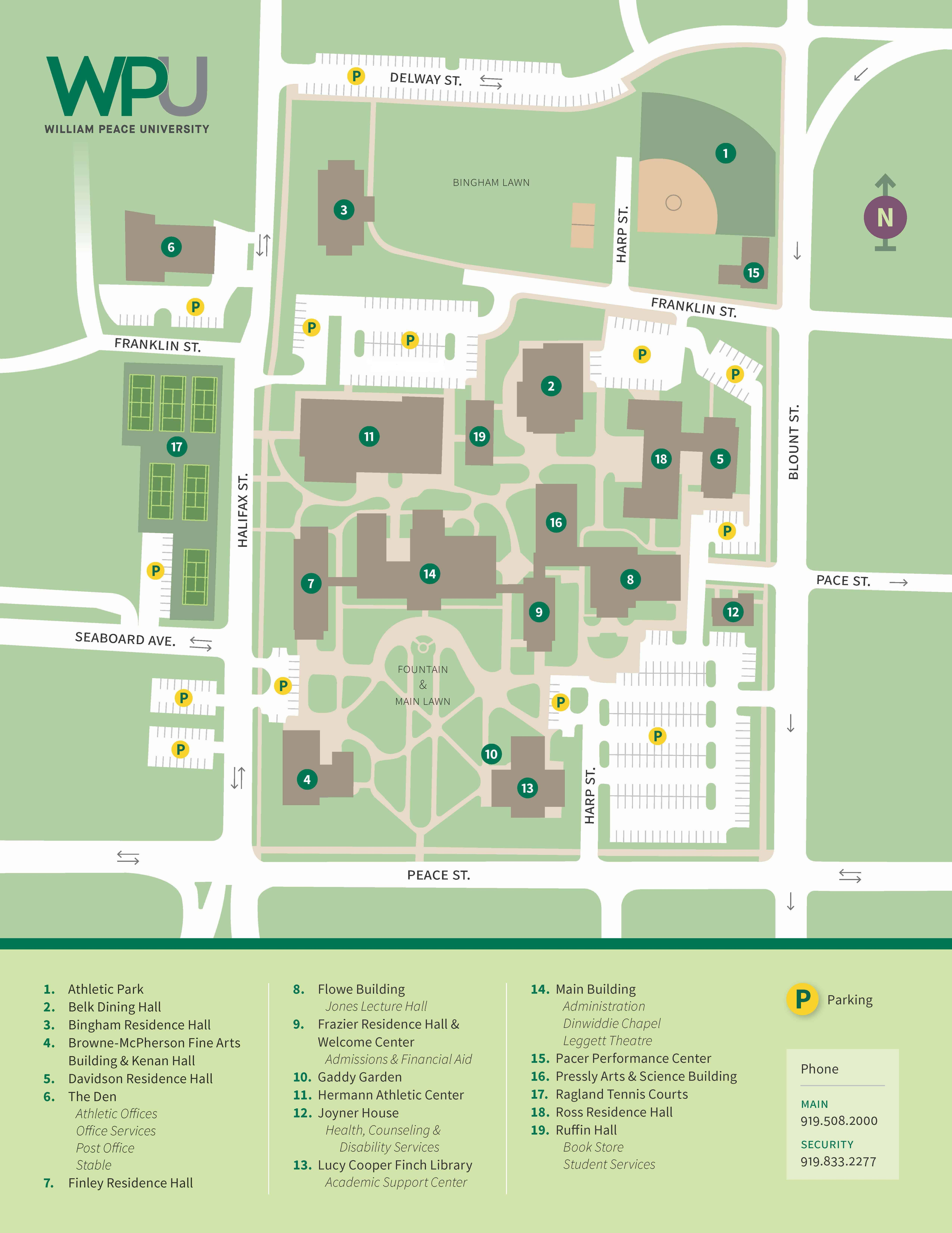 locations directions william peace university