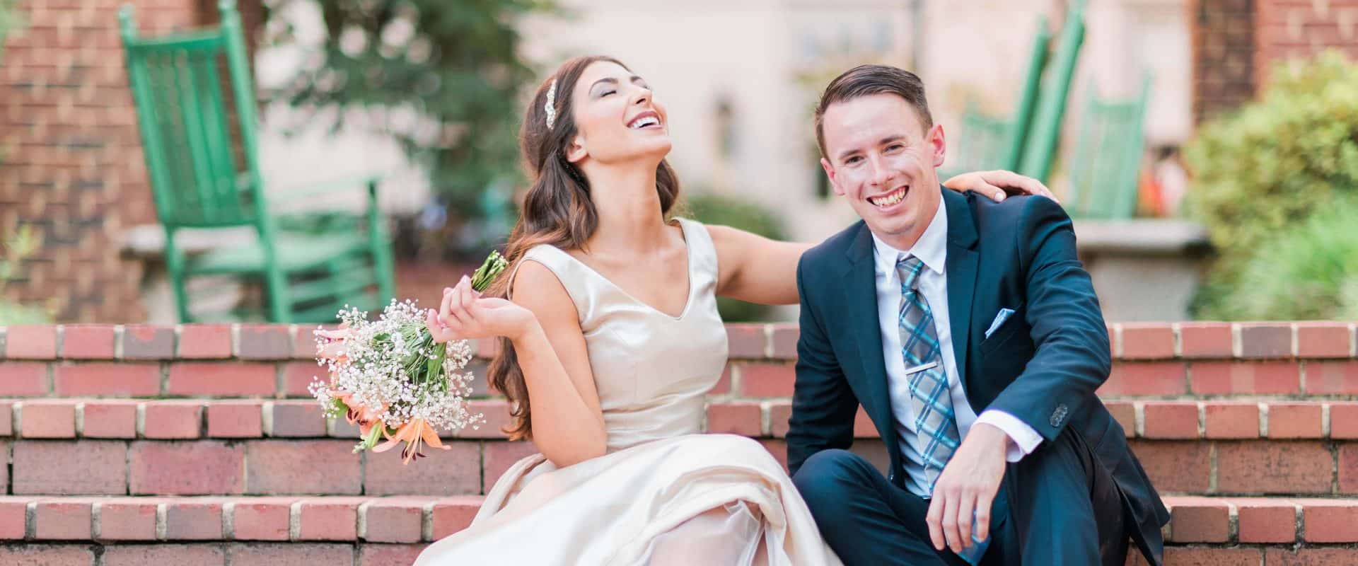 A bride and Groom after being married on campus.