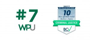 An award for WPU being a most affordable onliune college for Criminal Justice.