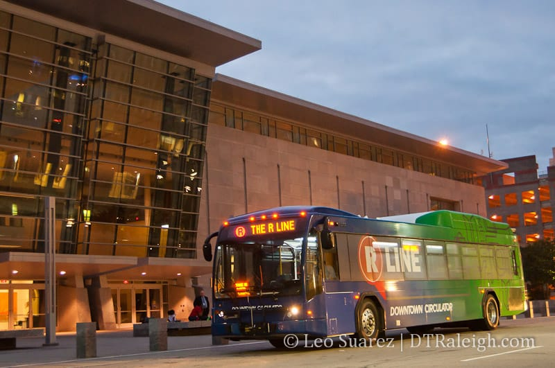 The R-Line is a free, public service that circulates through Raleigh