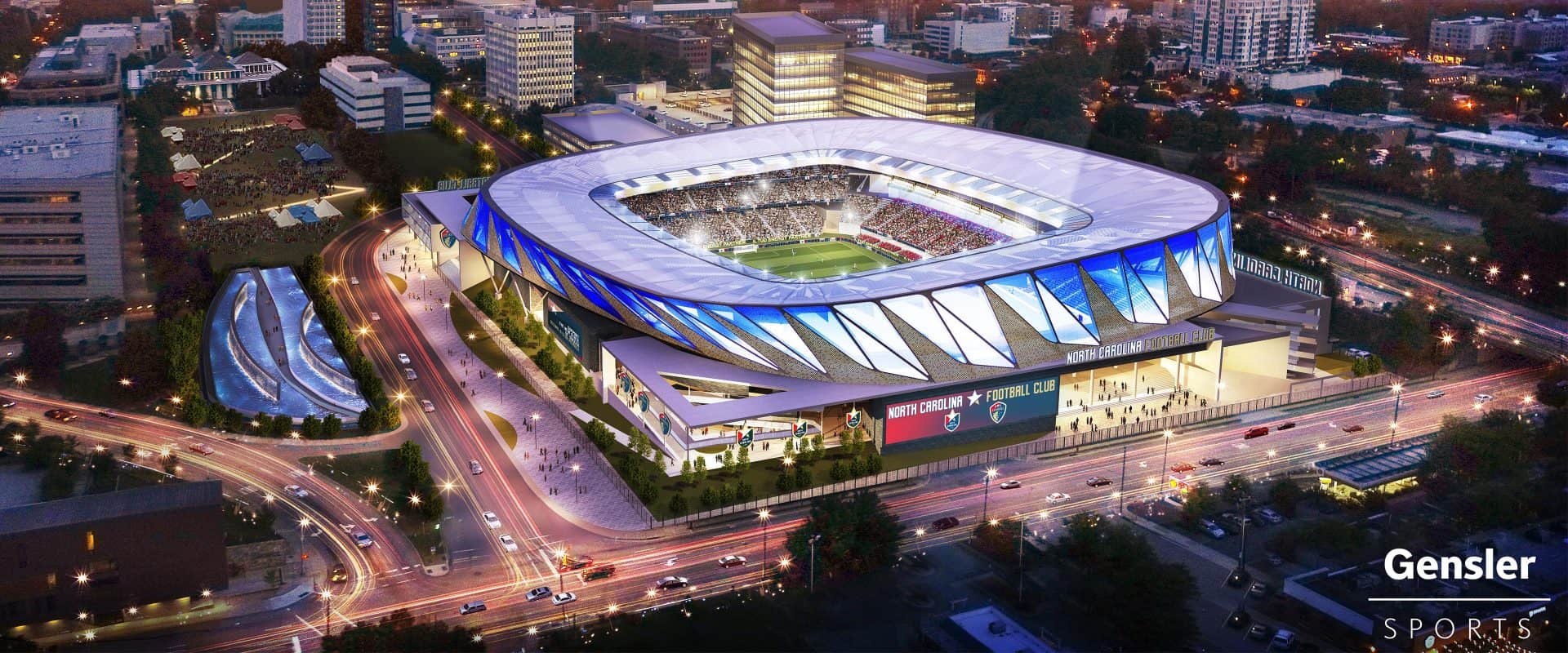 Mock-up image of MLS stadium in Downtown Raleigh.